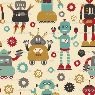Retro Robots on Cream