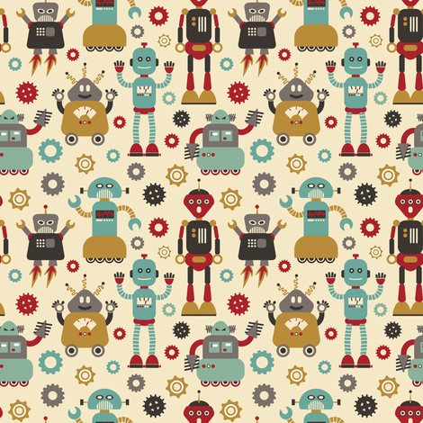 Retro Robots on Cream  fabric by cynthia_arre on Spoonflower - custom fabric