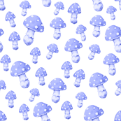 Mushrooms in Bluebell Blue