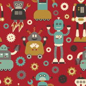 Retro Robots on Red