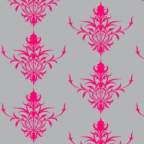 StylizedThistle In Fuchsia & Grey-ch