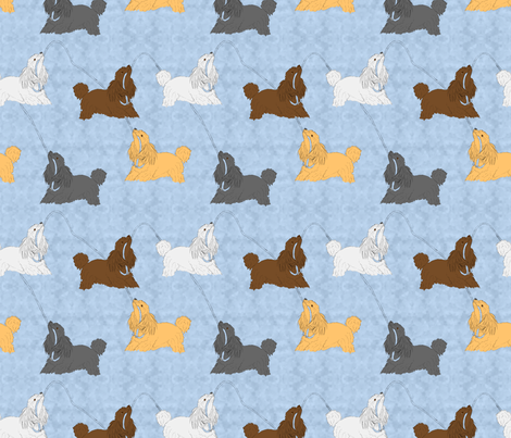 Tug of war Miniature Poodles - blue fabric by rusticcorgi on Spoonflower - custom fabric