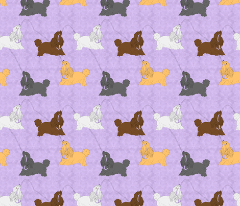Tug of war Miniature Poodles - purple fabric by rusticcorgi on Spoonflower - custom fabric