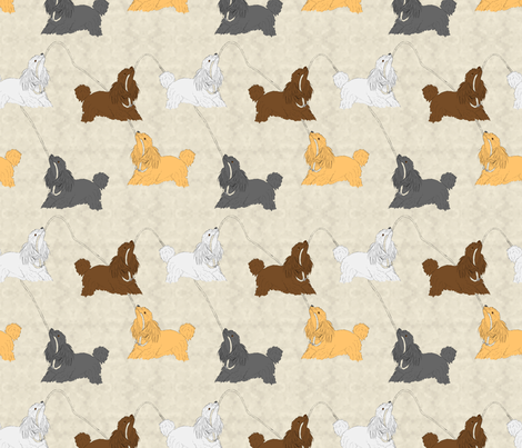 Tug of war Miniature Poodles - tan fabric by rusticcorgi on Spoonflower - custom fabric