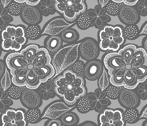 Fairies Forest Garden - Gray fabric by dianef on Spoonflower - custom fabric