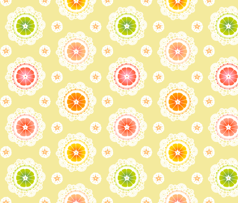 Citrus Lace (Yellow) fabric by aimee on Spoonflower - custom fabric