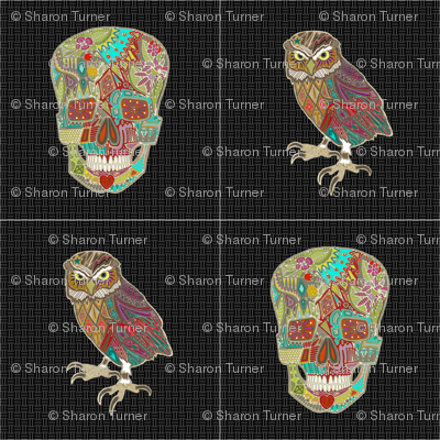 "skull and owl 12"" squares"