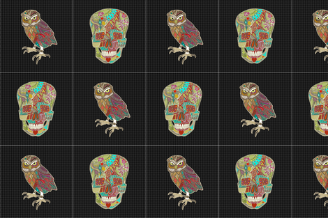 "skull and owl 12"" squares fabric by scrummy on Spoonflower - custom fabric"