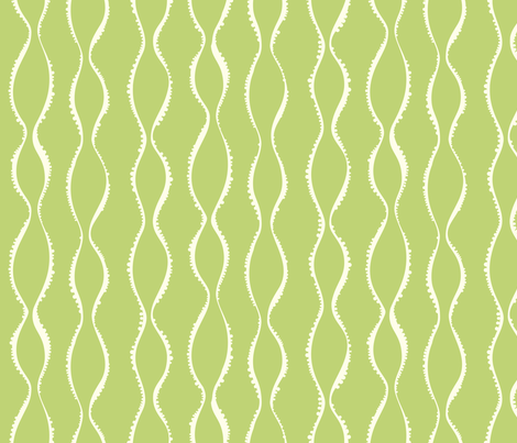 Bubble Waves - Green Ivory fabric by jillbyers on Spoonflower - custom fabric