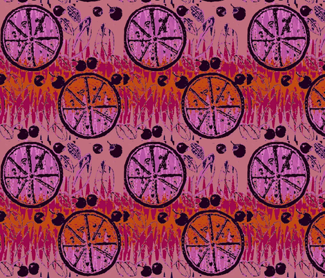 orange grape melons and black cherries fabric by dk_designs on Spoonflower - custom fabric