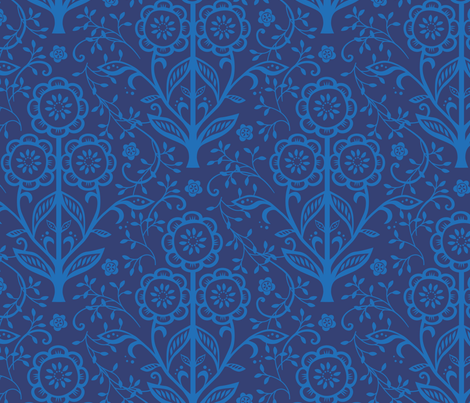 Citrus Flower Cut Paper  - Navy cornflower fabric by jillbyers on Spoonflower - custom fabric