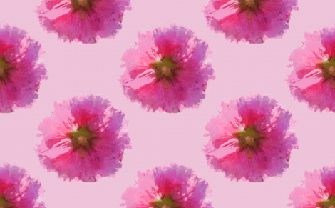 "Hollyhocks (set for 58"" wide) fabric by anniedeb on Spoonflower - custom fabric"