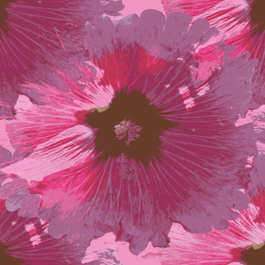 "Hollyhocks (set for 56"" wide fabric)"