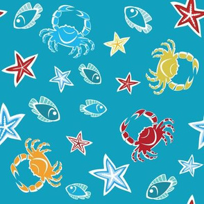 Pattern with starfishes, crabs and fishes