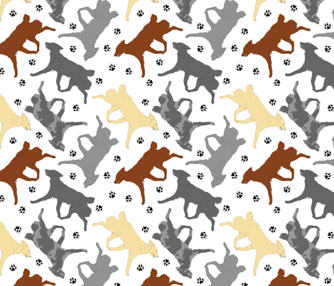 Trotting Mudis and paw prints - white fabric by rusticcorgi on Spoonflower - custom fabric