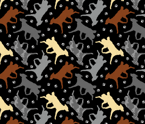 Trotting Mudis and paw prints - black fabric by rusticcorgi on Spoonflower - custom fabric