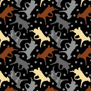 Trotting Mudis and paw prints - black
