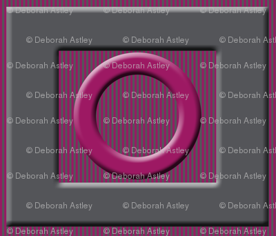 Beveled Circles and Rectangles on Gray and Cranberry Stripes