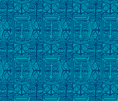 Kon Klassic in two tone blue fabric by sophista-tiki on Spoonflower - custom fabric
