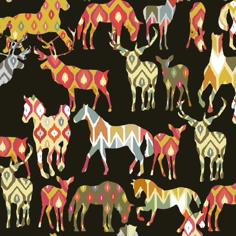 deer horse ikat party fabric by scrummy on Spoonflower - custom fabric