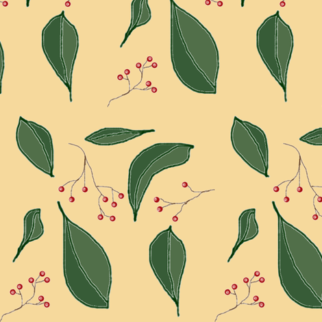 Leaves and Berries fabric by ravynscache on Spoonflower - custom fabric