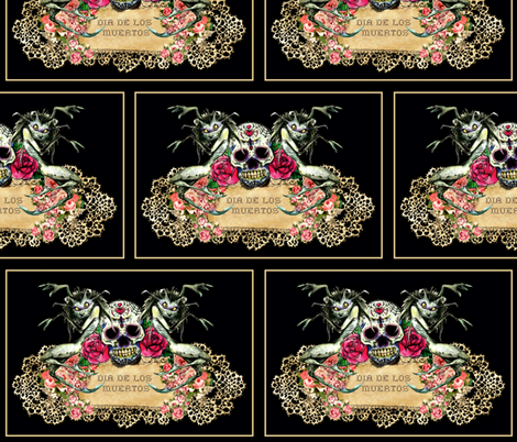Shabby Chic Sugar Skull fabric by whimzwhirled on Spoonflower - custom fabric
