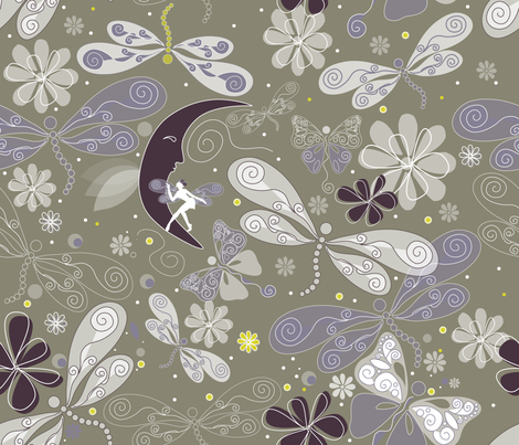 A midsummer love with moon fabric by liluna on Spoonflower - custom fabric