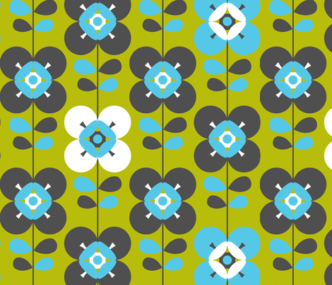 Mod flower blue green lg fabric by cjldesigns on Spoonflower - custom fabric