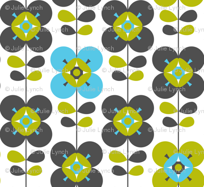 Mod flower blue white lg