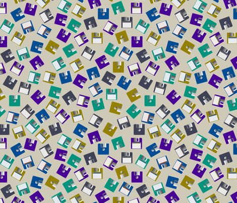 floppy disks scattered fabric by spacefem on Spoonflower - custom fabric