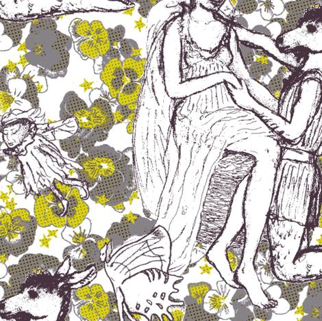 Fairy Queen Titania in Idleness fabric by bloomingwyldeiris on Spoonflower - custom fabric