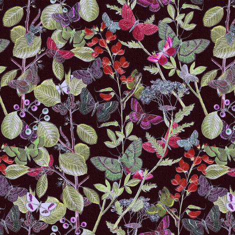 Night In The Butterflies' Garden fabric by peacoquettedesigns on Spoonflower - custom fabric