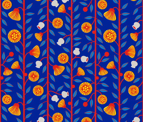 Gumnuts & Flowers 2 fabric by yellowstudio on Spoonflower - custom fabric
