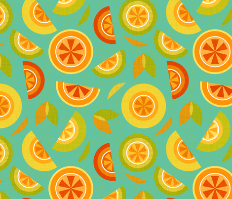 citrus on blue fabric by cjldesigns on Spoonflower - custom fabric