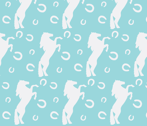 Stallion in teal fabric by rebeccamoon on Spoonflower - custom fabric