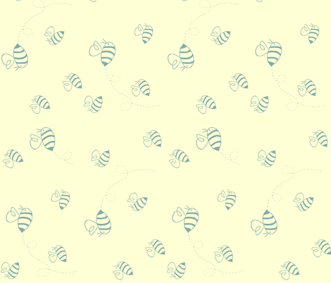 Small buzzing bees (turquoise on custard, rotated) fabric by calmcradle on Spoonflower - custom fabric