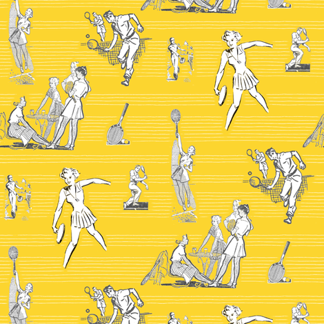 Retro Tennis fabric by louiseisobel on Spoonflower - custom fabric