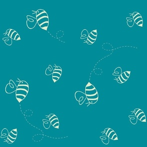 Buzzing bees (custard on turquoise, rotated)