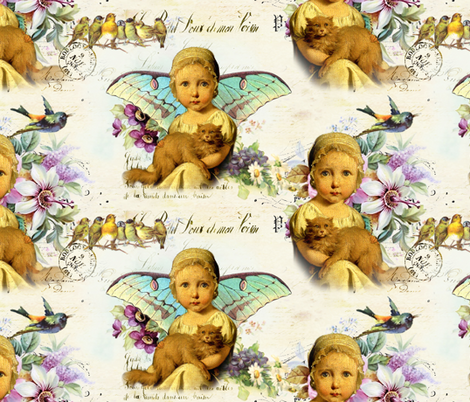 Angel Baby fabric by peagreengirl on Spoonflower - custom fabric