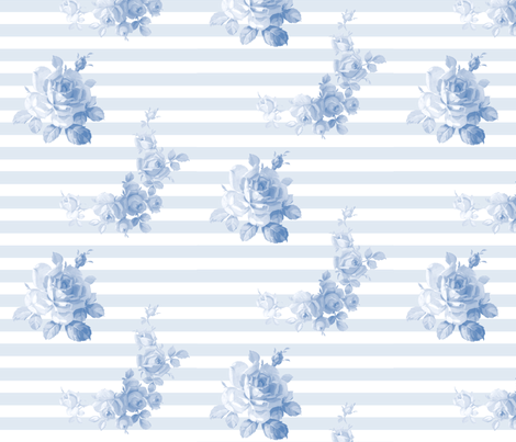 Seaside Garden Stripe Blueberry Blue fabric by lilyoake on Spoonflower - custom fabric