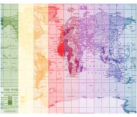 Rainbow World Map fabric by aftermyart on Spoonflower - custom fabric