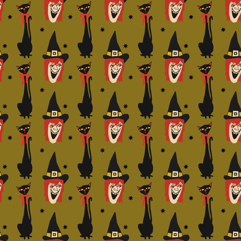 Atomic Halloween - Which Witch fabric by heidikenney on Spoonflower - custom fabric