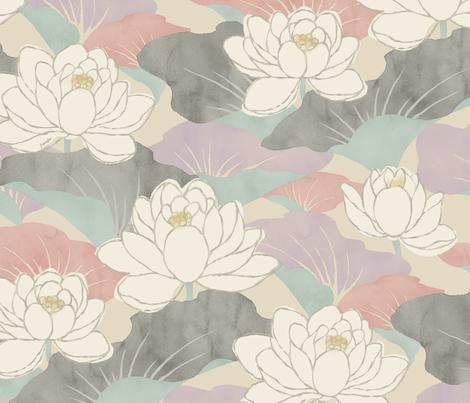 White Lotus - berry - fabric by frumafar on Spoonflower - custom fabric