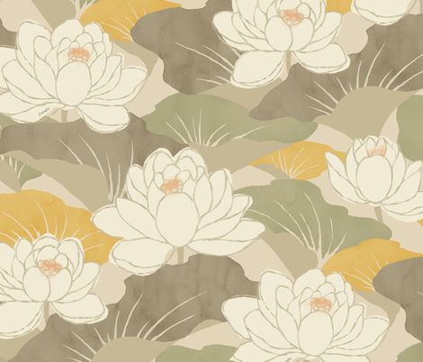 White Lotus - khaki -  fabric by frumafar on Spoonflower - custom fabric
