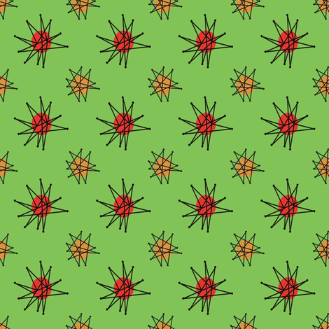 Atomic Halloween - Green Starburst fabric by heidikenney on Spoonflower - custom fabric