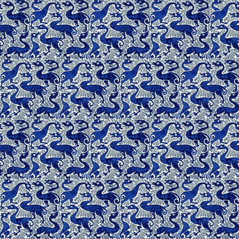 Blue Beasties fabric by amyvail on Spoonflower - custom fabric
