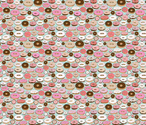donuts on blue - smaller scale fabric by kristinnohe on Spoonflower - custom fabric
