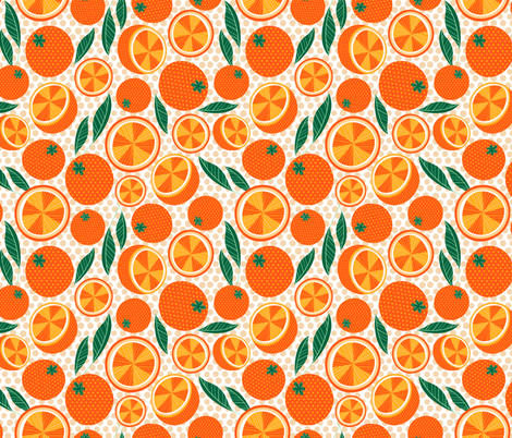 Polka Dot Oranges fabric by kristinnohe on Spoonflower - custom fabric