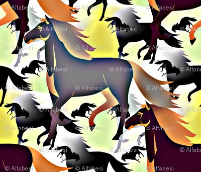 Horses in brown/bleu