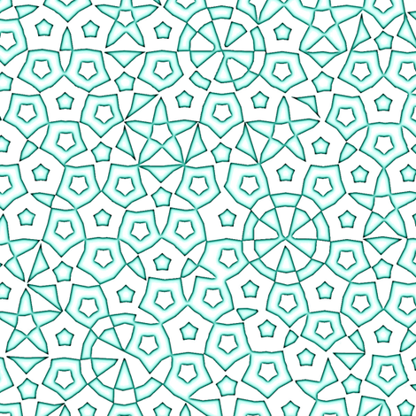 quasicrystal stars (aqua glow) fabric by weavingmajor on Spoonflower - custom fabric